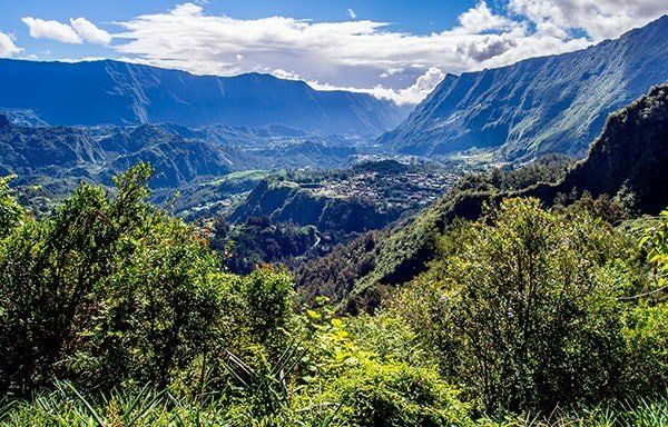 View of Reunion Island mountains