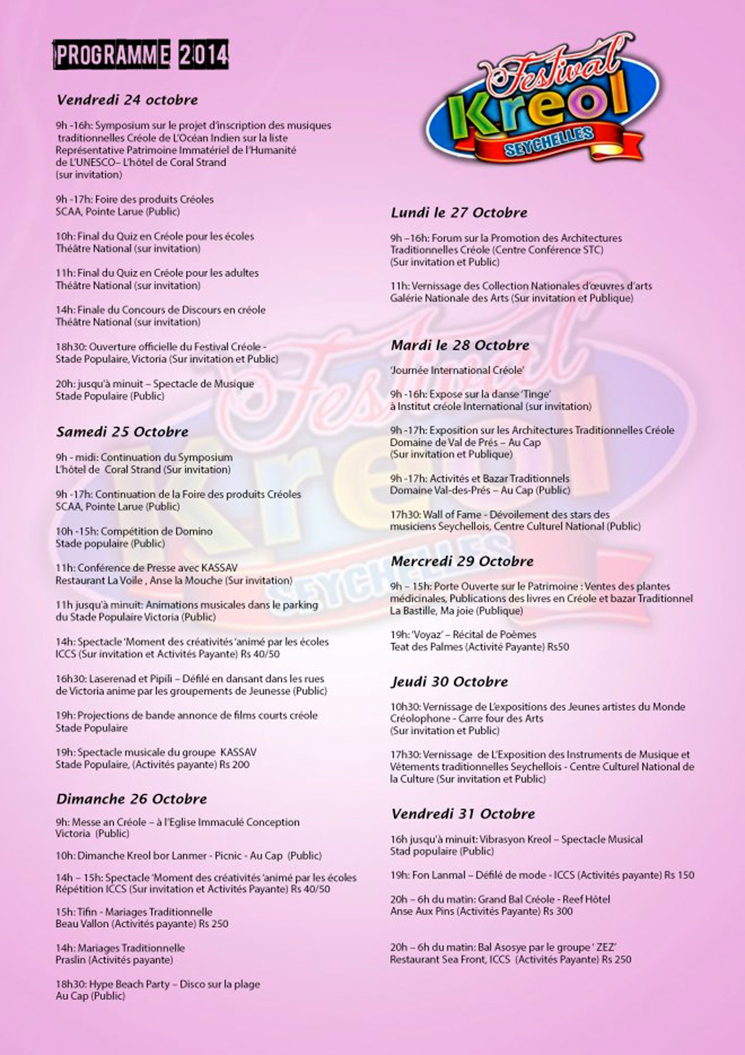 ARTICLE-The 29th Kreol festival of Seychellles