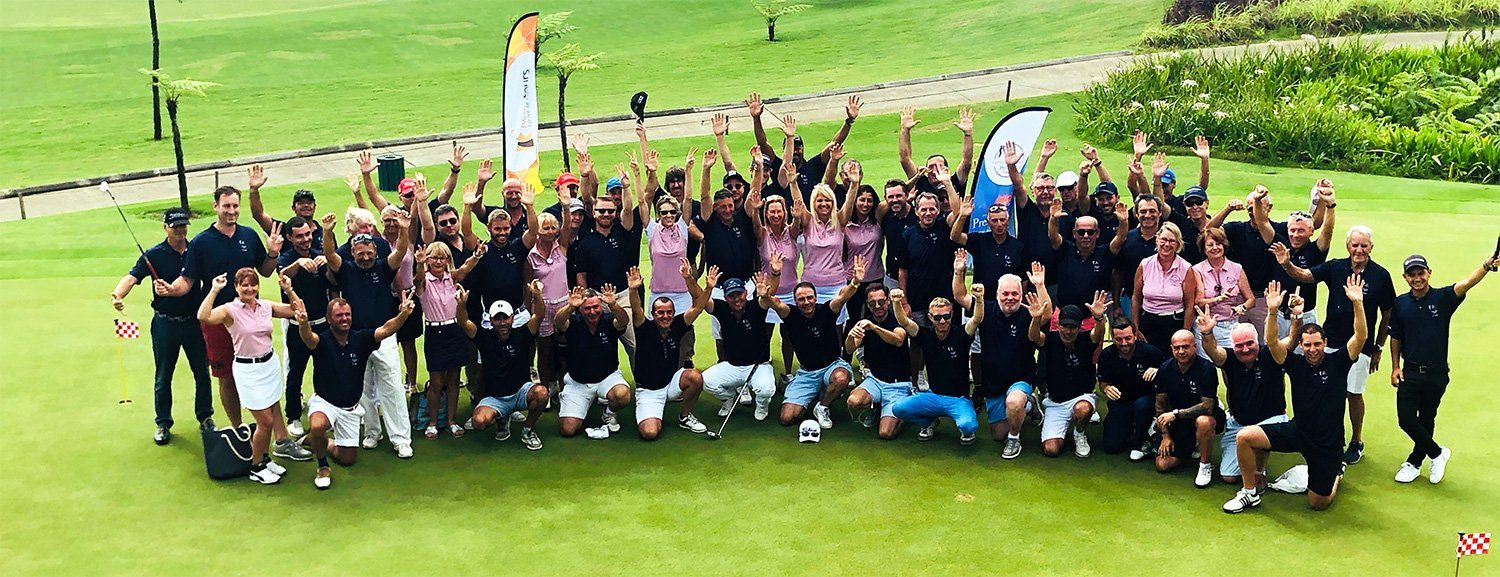 Aerial view participants golf 2018