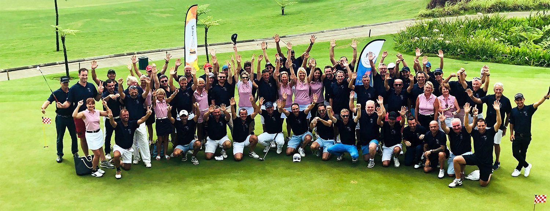 Aerial view participants golf 2018