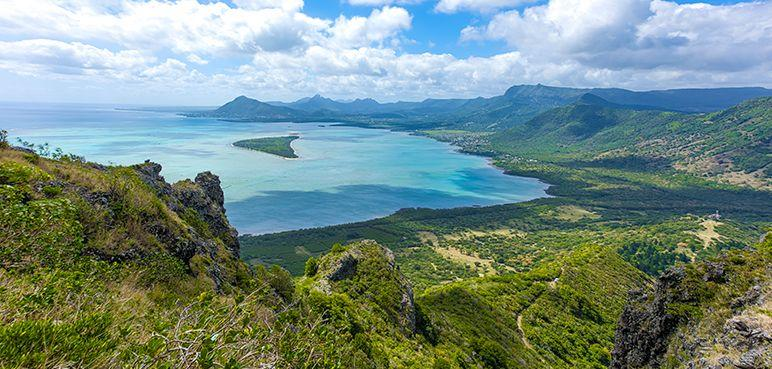 Mauritius - Lush green landscape by the ocean