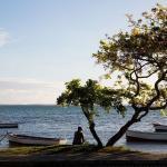 Île Maurice - Vue bord de mer pêcheur arbre bateaux