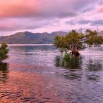 Lagon de Mayotte au coucher de soleil