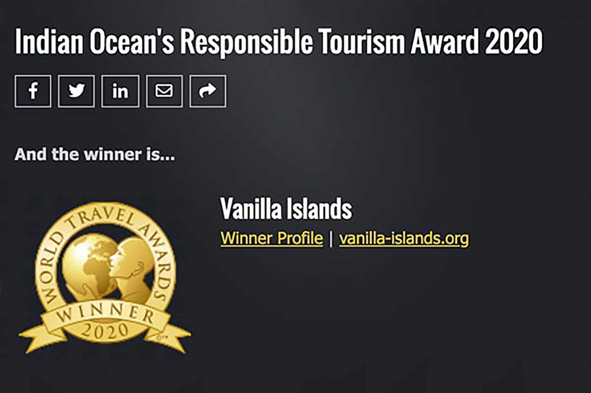 1er prix pour les Indian Ocean's Responsible Tourism Award 2020
